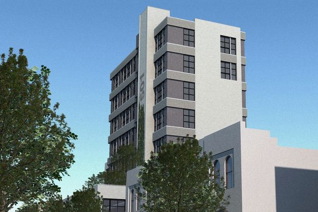 An 8-story light industrial building is set to rise on Carroll Street between Third and Fourth avenues, next to the Textile Arts Center.