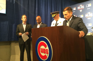 Officials with the city and Chicago Cubs held a press conference Thursday to outline security and traffic plans for the Cubs postseason run, which starts Friday.