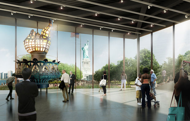 Ground was broken on the new, expansive Statue of Liberty Museum Thursday. The new museum will house the Statue of Liberty's original torch.