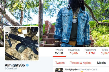 The Twitter home page for rapper Chief Keef features a gun prominently.