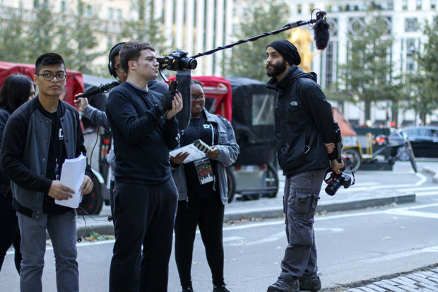 High school students from NYC and beyond are in the city making 8-minute films addressing cyberbullying.