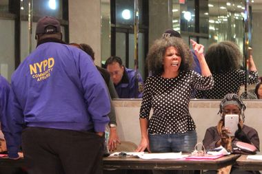Alicia Boyd of Movement to Protect the People shouts down a Brooklyn Community Board 9 land use committee in the spring of 2015.