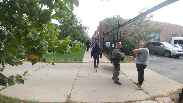 A Humboldt Park alternative high school wason lockdown Thursday afternoon as police responded to calls of a person with a gun there.