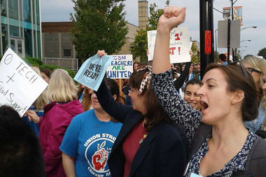 UNO Charter School teachers held a rally Thursday after voting to authorize a strike if no deal can be reached with the charter school operators.