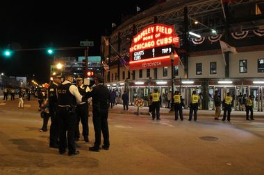 Police in Wrigleyville during the 2016 National League Division Series