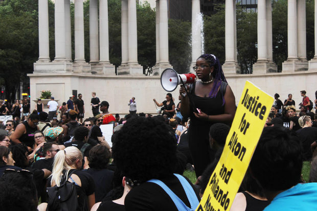 Payton College Prep student Eva Lewis helped organized a silent protest in July at Millennium Park.
