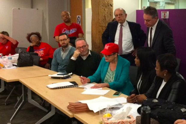 Chicago Teachers Union President Karen Lewis (red hat) at the announcement that a deal had been reached to avoid a strike