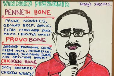 Ken Bone inspired specials at Vinny's Pizzeria in Williamsburg Monday.