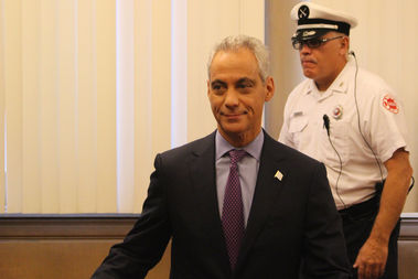 Mayor Rahm Emanuel arrives at the City Council Tuesday to deliver his 2017 budget proposal.