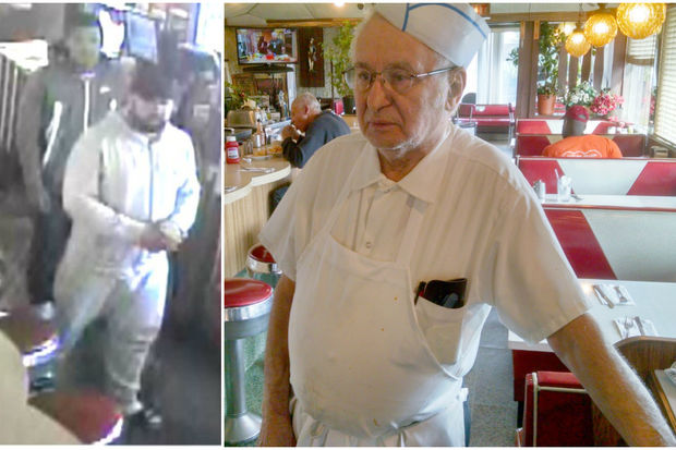 The suspects, left, punched Michael Diamantis, 83, in the face and broke the arm of his wife, Dimitra Diamantis, police said.