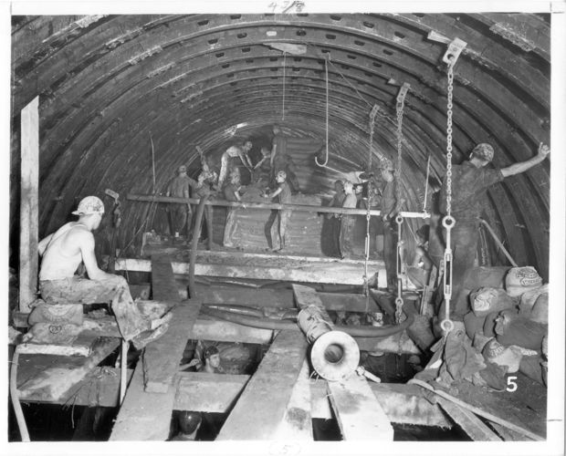 Bench mining operations in Dearborn Subway (Blue Line)