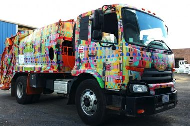 This Washington DC garbage truck was designed by Erin Curtis. The artist has been hired by the CTA to develop a piece of art for the Kedzie stop on the Green Line.