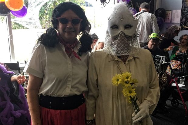 Alicia Gonzalez and Ana Suarez were all smiles after winning the costume contest for the Health Outreach Halloween Party at the Allen Hospital Monday afternoon.