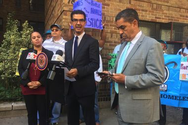Councilman Ydanis Rodriguez, State Sen. Adriano Espaillat and State Assembly Nominee Carmen De La Rosa stood before 78-86 Thayer St. to call out on the vacant apartments inside the building.