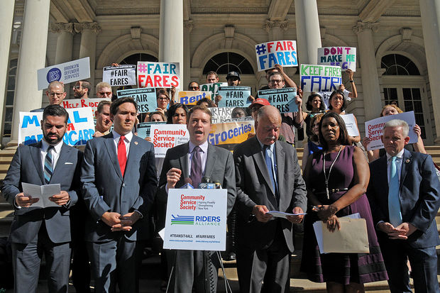 City Council members, riders and transit advocates called for reduced-fare MetroCards for New Yorkers living below the federal poverty line during a press conference at City Hall on Wednesday, Oct. 19, 2016.