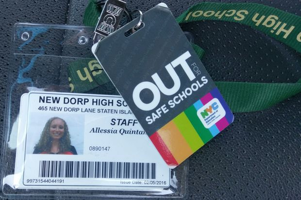 New Dorp High School teacher Allessia Quintana proudly displays her OUT for Safe Schools badge.