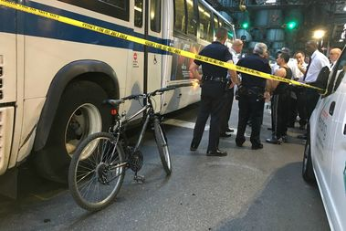 A male cyclist was struck by an MTA bus at Broadway and Marcy Avenue on Wednesday, authorities said.