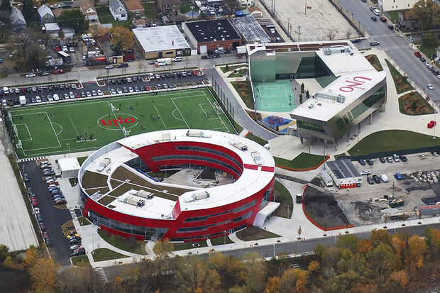An aerial view of UNO Soccer Academy Charter school in Gage Park.