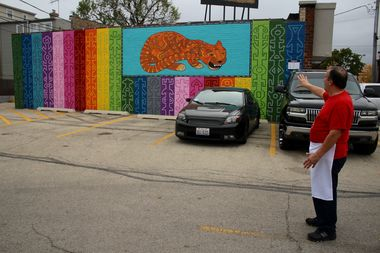 Steve Vrettos owns the property where the JagLeo mural was painted.