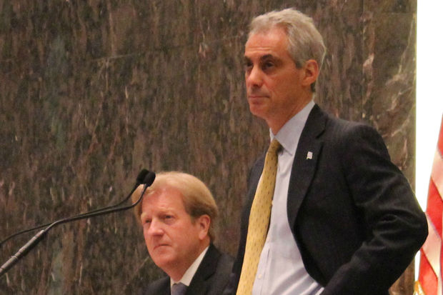 City Corporation Counsel Stephen Patton and Mayor Rahm Emanuel.