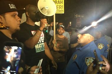 More than 50 people marched on the 43rd Precinct stationhouse to protest the fatal shooting of 66-year-old Deborah Danners, who suffered from schizophrenia, by police