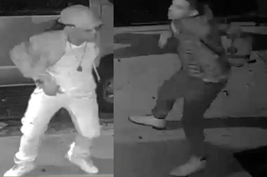 Police released surveillance footage of two men they say approached a man who was eating a slice of pizza on Orchard Street and knocked the food to the ground before slashing him across the arm.