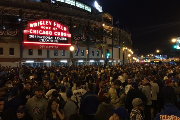 Cubs fans outside Wrigley Field after the Cubs won their first National League title since 1945.