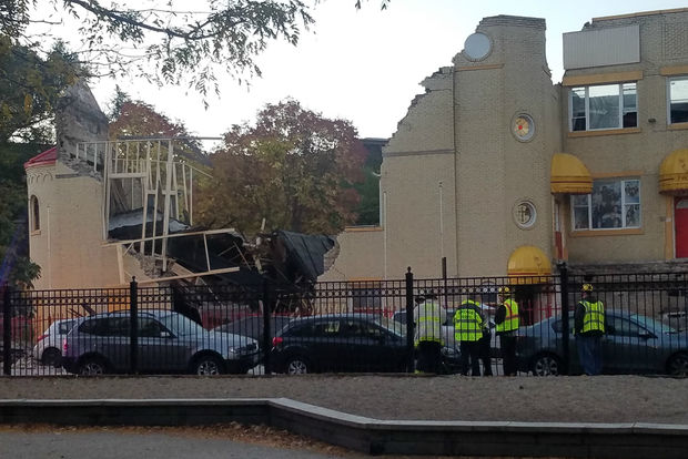 About half of theformer Mision Cristina church at 1903-1905 W. Evergreen Street in WIcker Park collapsed just before 6 a.m. Monday, officials said.
