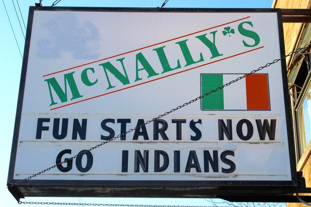 McNally's in Morgan Park stayed true to form Monday morning with a pair of messages on its marquee wishing the Chicago Cubs anything but good luck in the World Series. The bar has a long history of poking fun at the North Siders.