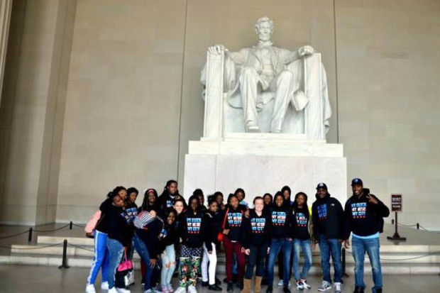 Students from Collins Academy High School visit Washington, D.C. through the My Block My Hood My City program.