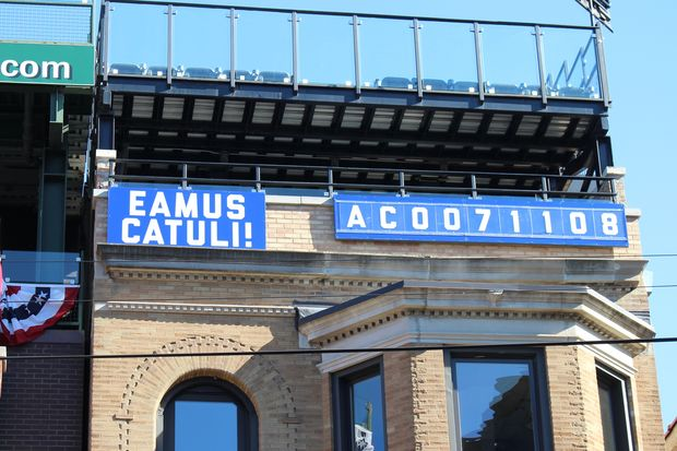It's time for the Lakeview Baseball Club to change its Eamus Catuli sign after the most dramatic victory in the rooftop's 30-year history.