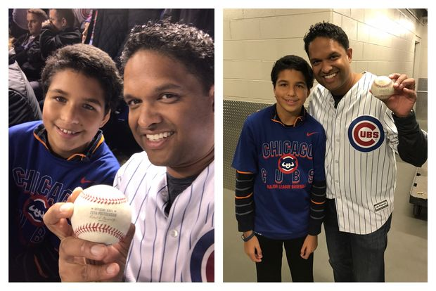 Rahul Khare caught Willson Contreras's home run ball Saturday for his son Dylan, 11.