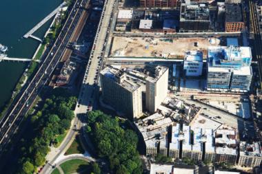Aerial view of Manhattanville campus.