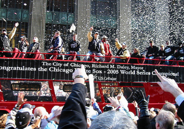 The White Sox celebrate their World Series win with a parade in 2005.