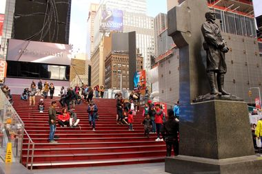 The TKTS staircase in Times Square.