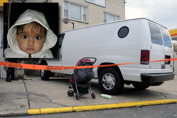Navraj Raju, inset, was killed when a white van ran him over in East Elmhurst, police said.