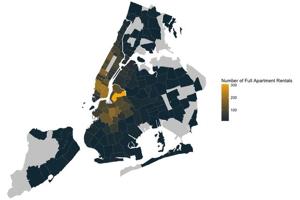 This map, from ValuePenguin, shows which areas are home to the most listings of entire apartments on Airbnb. It's illegal to rent a unit out for under 30 days when a tenant is not present.