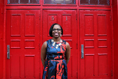 Principal Kyesha Jackson outside P.S. 67 at 51 St. Edwards St.
