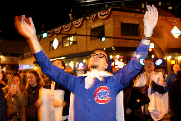 The Cubs won Game 5 to stay alive in the World Series, and the fans celebrated.