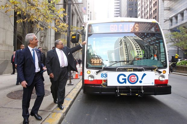 Mayor Rahm Emanuel Monday hopped the newest CTA bus — decked out to celebrate the Chicago Cubs' trip to the World Series — before promising to continue his push to make the transit system