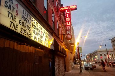 The Double Door sign at sunrise.