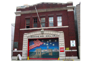 The firehouse doors at Engine 205 and Ladder 118 in Brooklyn Heights.  sc 1 st  DNAinfo & Brooklyn Heights Firehouse Doors May Be Moved to 9/11 Museum ...