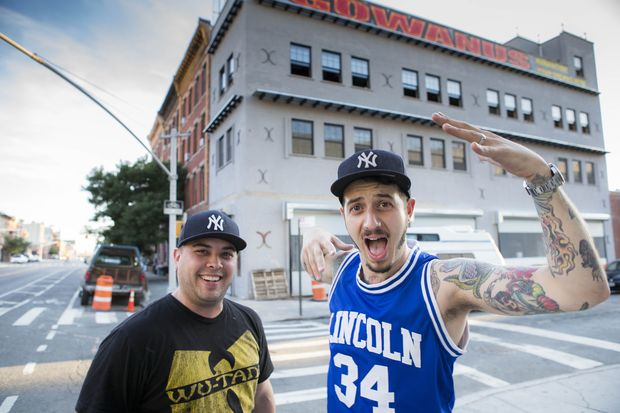Partners Ennio Di Nino and Adam Harvey of A&E Supply Co., a future restaurant and butcher shop that's now open for coffee on Fourth Avenue and 15th Street in Gowanus.