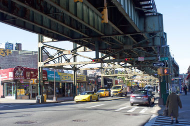 The intersection of Roosevelt Avenue and 64th Street in Woodside.