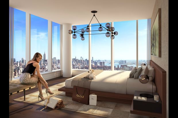 Interior renderings of homes and amenities inside the 80-story luxury tower.