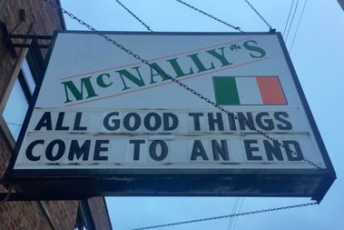 McNally's responded to the Chicago Cubs winning the World Series with an almost predicable degree of snark Thursday morning. Northbound traffic is treated to the message,