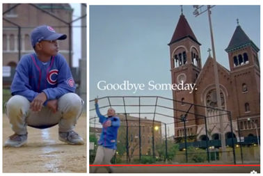 Screenshots from Nike Cubs commercial.