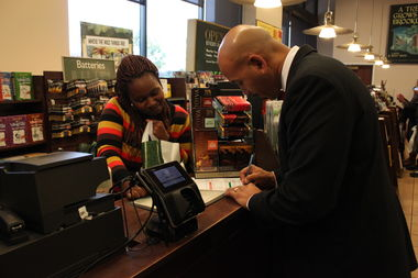 Bronx Borough President Ruben Diaz Jr., seen here at the Co-Op City Barnes & Noble, said the company has pledged to return to the borough despite plans to close at the end of the year.