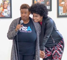 McDonald with her vocal coach Yolanda Wyns  at Harlem School of the Arts.