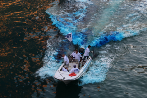 The Chicago River was dyed Cubbie blue Friday.